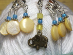 Removable Stitch Markers for Knit or Crochet- Yellow Elephant , Stitch Markers - Jill's Beaded Knit Bits, Jill's Beaded Knit Bits  - 2