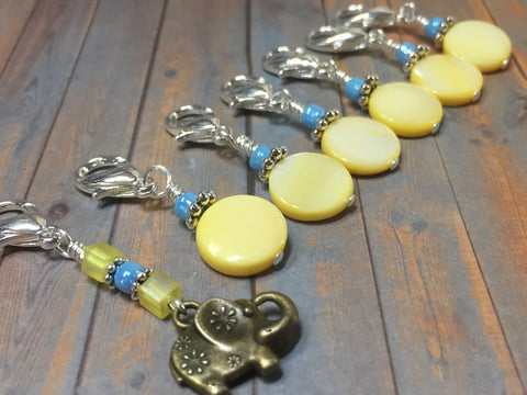 Removable Stitch Markers for Knit or Crochet- Yellow Elephant , Stitch Markers - Jill's Beaded Knit Bits, Jill's Beaded Knit Bits  - 1
