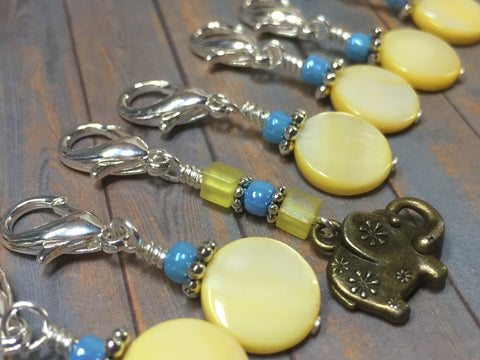 Removable Stitch Markers for Knit or Crochet- Yellow Elephant , Stitch Markers - Jill's Beaded Knit Bits, Jill's Beaded Knit Bits  - 3