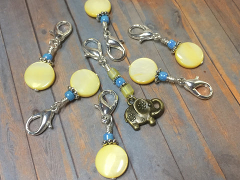 Removable Stitch Markers for Knit or Crochet- Yellow Elephant , Stitch Markers - Jill's Beaded Knit Bits, Jill's Beaded Knit Bits  - 6