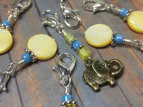 Removable Stitch Markers for Knit or Crochet- Yellow Elephant , Stitch Markers - Jill's Beaded Knit Bits, Jill's Beaded Knit Bits  - 5