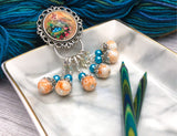 Removable Stitch Markers and Magnetic Holder- Robin's Eggs
