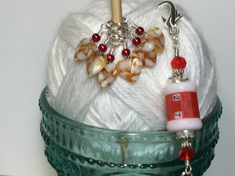 Red Row Counter Lanyard & Amber Heart Stitch Markers , Stitch Markers - Jill's Beaded Knit Bits, Jill's Beaded Knit Bits  - 5