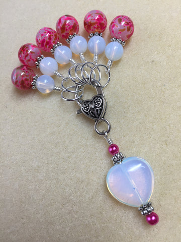 Sea Opal Heart Stitch Marker Holder with Pink Stitch Markers , Stitch Markers - Jill's Beaded Knit Bits, Jill's Beaded Knit Bits  - 3