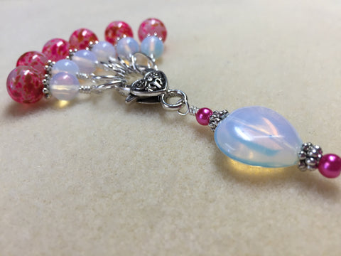 Sea Opal Heart Stitch Marker Holder with Pink Stitch Markers , Stitch Markers - Jill's Beaded Knit Bits, Jill's Beaded Knit Bits  - 5