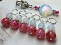 Sea Opal Heart Stitch Marker Holder with Pink Stitch Markers , Stitch Markers - Jill's Beaded Knit Bits, Jill's Beaded Knit Bits  - 7