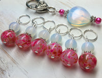 Sea Opal Heart Stitch Marker Holder with Pink Stitch Markers , Stitch Markers - Jill's Beaded Knit Bits, Jill's Beaded Knit Bits  - 1