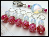 Sea Opal Heart Stitch Marker Holder with Pink Stitch Markers , Stitch Markers - Jill's Beaded Knit Bits, Jill's Beaded Knit Bits  - 2