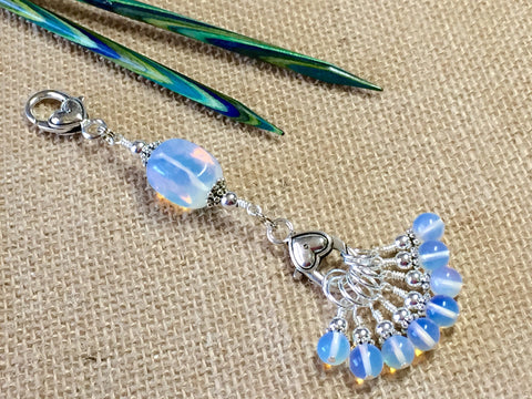Sea Opal Stitch Markers & Knitting Bag Lanyard , Stitch Markers - Jill's Beaded Knit Bits, Jill's Beaded Knit Bits  - 1