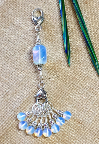 Sea Opal Stitch Markers & Knitting Bag Lanyard , Stitch Markers - Jill's Beaded Knit Bits, Jill's Beaded Knit Bits  - 2