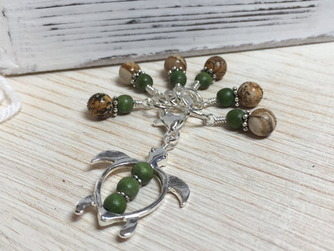Sea Turtle Stitch Marker Clip & Stitch Markers