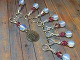 Sea Opal Tree of Life Stitch Marker Set