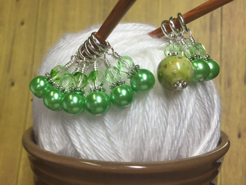 Shades of Green Stitch Marker Set , Stitch Markers - Jill's Beaded Knit Bits, Jill's Beaded Knit Bits  - 2