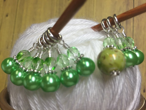 Shades of Green Stitch Marker Set , Stitch Markers - Jill's Beaded Knit Bits, Jill's Beaded Knit Bits  - 3