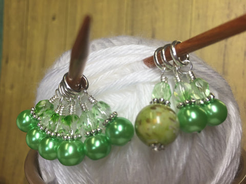 Shades of Green Stitch Marker Set , Stitch Markers - Jill's Beaded Knit Bits, Jill's Beaded Knit Bits  - 5