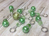 Shades of Green Stitch Marker Set , Stitch Markers - Jill's Beaded Knit Bits, Jill's Beaded Knit Bits  - 6