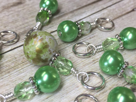 Shades of Green Stitch Marker Set , Stitch Markers - Jill's Beaded Knit Bits, Jill's Beaded Knit Bits  - 7