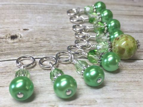Shades of Green Stitch Marker Set , Stitch Markers - Jill's Beaded Knit Bits, Jill's Beaded Knit Bits  - 8