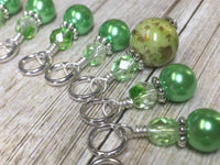 Shades of Green Stitch Marker Set , Stitch Markers - Jill's Beaded Knit Bits, Jill's Beaded Knit Bits  - 4