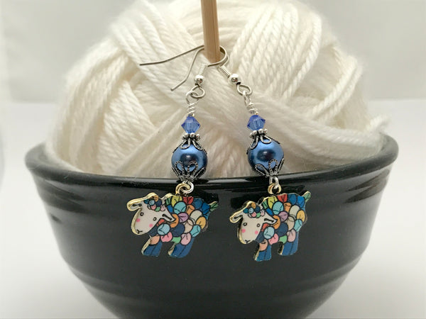 Sheep Wire Dangle Earrings