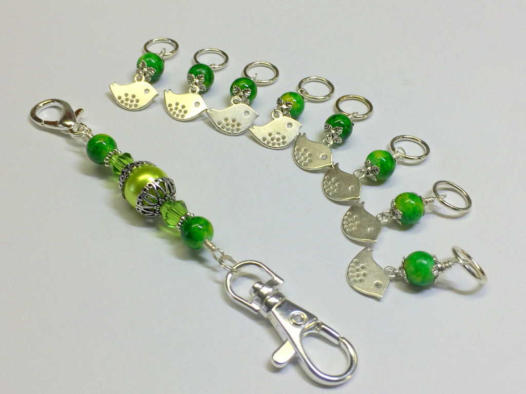 Silver Bird Stitch Markers & Knitting Bag Lanyard Holder , Stitch Markers - Jill's Beaded Knit Bits, Jill's Beaded Knit Bits  - 1