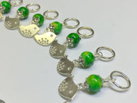 Silver Bird Stitch Markers & Knitting Bag Lanyard Holder , Stitch Markers - Jill's Beaded Knit Bits, Jill's Beaded Knit Bits  - 5