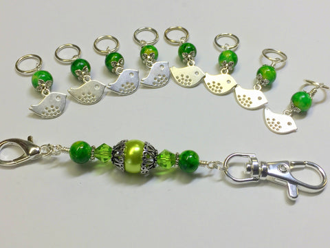 Silver Bird Stitch Markers & Knitting Bag Lanyard Holder , Stitch Markers - Jill's Beaded Knit Bits, Jill's Beaded Knit Bits  - 4