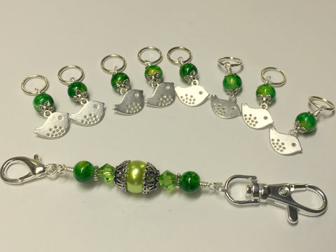 Silver Bird Stitch Markers & Knitting Bag Lanyard Holder , Stitch Markers - Jill's Beaded Knit Bits, Jill's Beaded Knit Bits  - 3