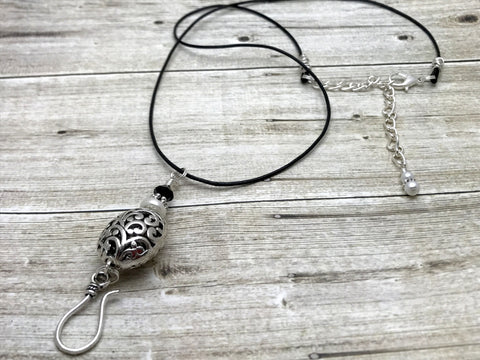 Silver Filigree Portuguese Knitting Necklace, Stitch Marker Holder