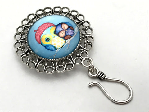 Magnetic Sister Owls Knitting Pin for Portuguese Knitting - ID Badge Holder
