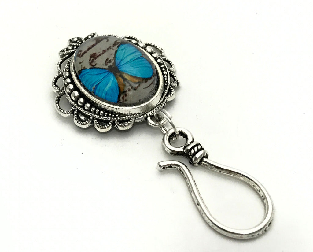 Magnetic Blue Butterfly Portuguese Knitting Pin