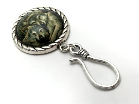 Cuddling Wolves MAGNETIC Portuguese Knitting Pin- ID Badge Holder