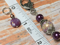 Smashed Grapes Purple Stitch Markers with Matching Clip Holder , Stitch Markers - Jill's Beaded Knit Bits, Jill's Beaded Knit Bits  - 9