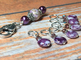 Smashed Grapes Purple Stitch Markers with Matching Clip Holder , Stitch Markers - Jill's Beaded Knit Bits, Jill's Beaded Knit Bits  - 5