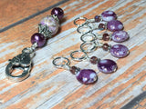 Smashed Grapes Purple Stitch Markers with Matching Clip Holder , Stitch Markers - Jill's Beaded Knit Bits, Jill's Beaded Knit Bits  - 1