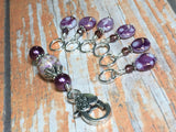 Smashed Grapes Purple Stitch Markers with Matching Clip Holder , Stitch Markers - Jill's Beaded Knit Bits, Jill's Beaded Knit Bits  - 2