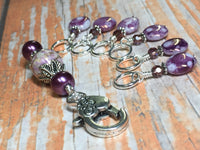 Smashed Grapes Purple Stitch Markers with Matching Clip Holder , Stitch Markers - Jill's Beaded Knit Bits, Jill's Beaded Knit Bits  - 6