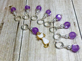 Snag Free Cat Stitch Marker Set- purple , Stitch Markers - Jill's Beaded Knit Bits, Jill's Beaded Knit Bits  - 8