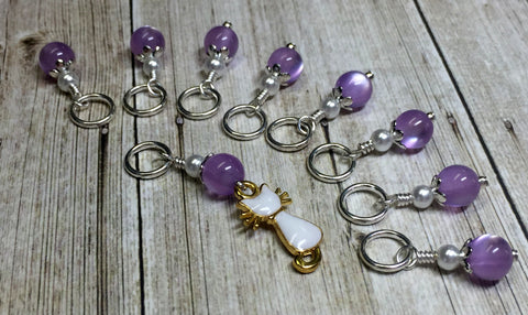 Snag Free Cat Stitch Marker Set- purple , Stitch Markers - Jill's Beaded Knit Bits, Jill's Beaded Knit Bits  - 7