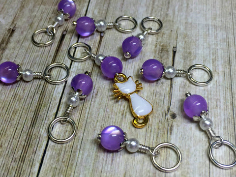 Snag Free Cat Stitch Marker Set- purple , Stitch Markers - Jill's Beaded Knit Bits, Jill's Beaded Knit Bits  - 3