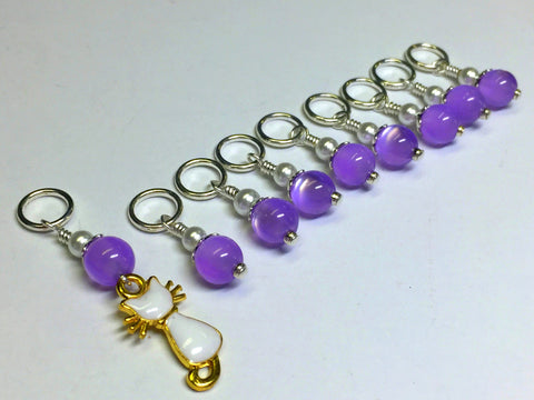 Snag Free Cat Stitch Marker Set- purple , Stitch Markers - Jill's Beaded Knit Bits, Jill's Beaded Knit Bits  - 6