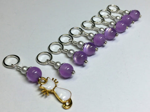 Snag Free Cat Stitch Marker Set- purple , Stitch Markers - Jill's Beaded Knit Bits, Jill's Beaded Knit Bits  - 1