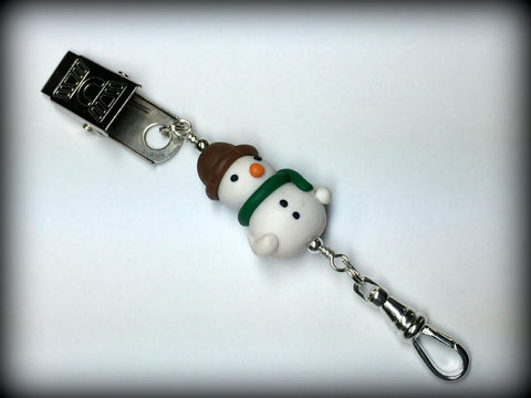 Snowman Portuguese Knitting Pin- Clip on , Portugese Knitting Pin - Jill's Beaded Knit Bits, Jill's Beaded Knit Bits  - 1