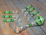 Spearmint Swirl Stitch Marker Holder Set , Stitch Markers - Jill's Beaded Knit Bits, Jill's Beaded Knit Bits  - 4