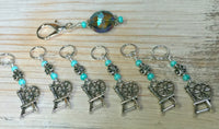 Spinning Wheel Stitch Markers & Holder Set , Stitch Markers - Jill's Beaded Knit Bits, Jill's Beaded Knit Bits  - 7