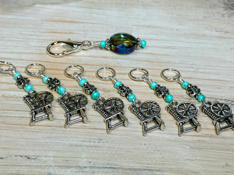 Spinning Wheel Stitch Markers & Holder Set , Stitch Markers - Jill's Beaded Knit Bits, Jill's Beaded Knit Bits  - 1
