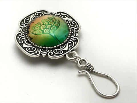 Lime Green Tree of Life Magnetic Knitting Pin for Portuguese Knitting