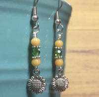 Sunflower Dangle Earrings , jewelry - Jill's Beaded Knit Bits, Jill's Beaded Knit Bits  - 5