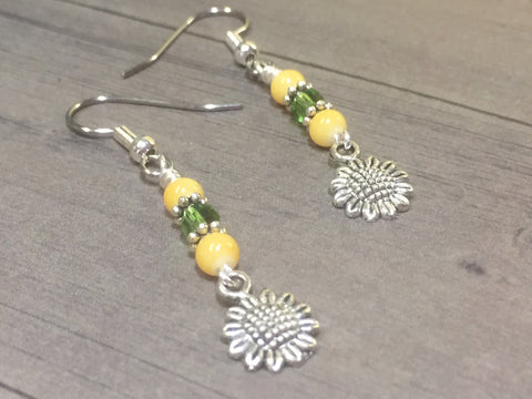 Sunflower Dangle Earrings , jewelry - Jill's Beaded Knit Bits, Jill's Beaded Knit Bits  - 8