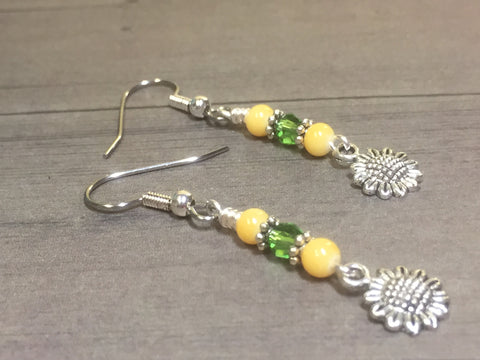 Sunflower Dangle Earrings , jewelry - Jill's Beaded Knit Bits, Jill's Beaded Knit Bits  - 2